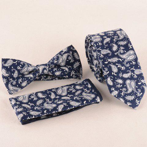 One Set Fashion Paisley Pattern Deep Blue Tie Handkercheif and Bow Tie - DEEP BLUE
