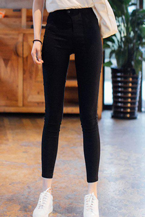Stylish Zipper Fly High Waist Solid Color Ninth Pencil Pants For Women - BLACK S