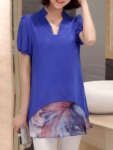 Casual Short Sleeve Stand Collar Faux Twinset Women's Chiffon Blouse - BLUE M
