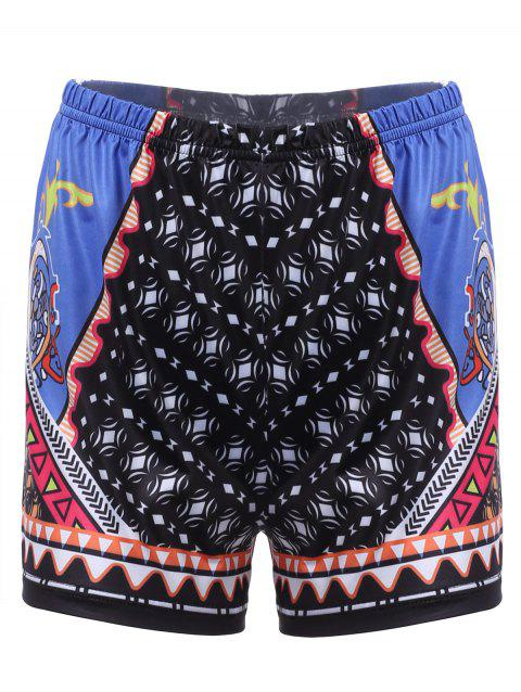 Chic Geometrical Print Beach Shorts For Women - COLORMIX M