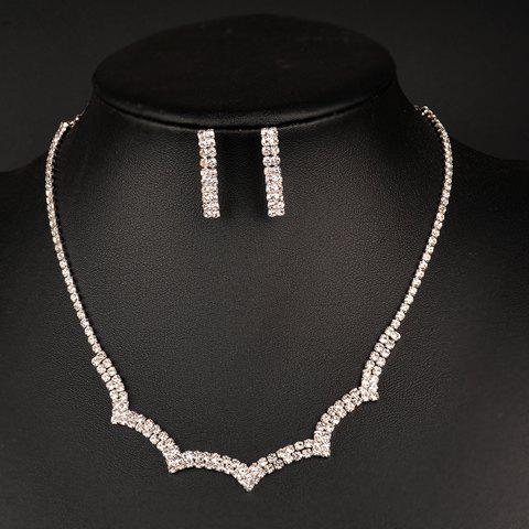 A Suit of Rhinestoned Necklace and Earrings - SILVER