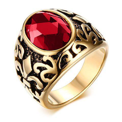 Chic Alloy Engraved Faux Gem Ring For Men - RED ONE-SIZE