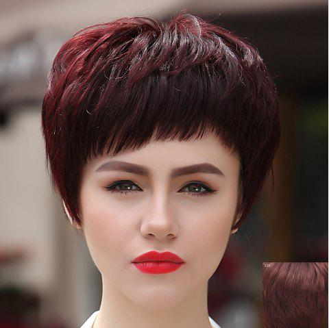 Trendy Short Capless Straight Full Bang Women's Human Hair Wig - DARK AUBURN BROWN