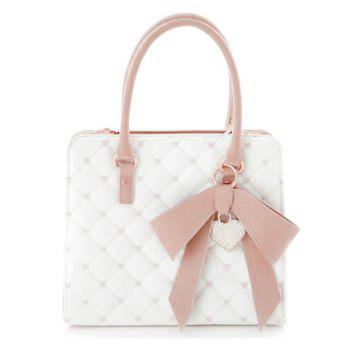 Sweet Bow and Checked Design Tote Bag For Women
