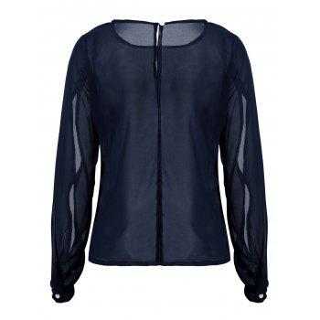 Casual Jewel Neck Hollow Out Long Sleeve Chiffon Blouse For Women - DEEP BLUE DEEP BLUE