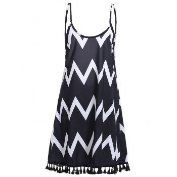 Bohemian Women's Backless Zigzag Stripe Fringed Dress