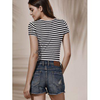 Fashionable Plunging Neck Short Sleeve Low-Cut Striped Women's Bodysuit - WHITE/BLACK S