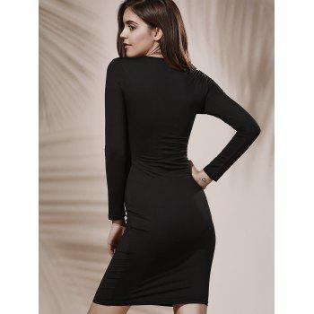 Alluring Plunging Neck Long Sleeve Black Hollow Out Women's Midi Dress - BLACK L