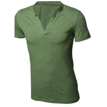 Simple Deep V-Neck Solid Color Short Sleeve Men's T-Shirt