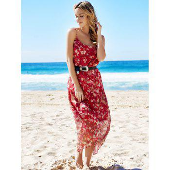 Bohemian Sleeveless Spaghetti Strap Floral Print Women's Dress - M M