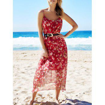 Bohemian Sleeveless Spaghetti Strap Floral Print Women's Dress - RED M