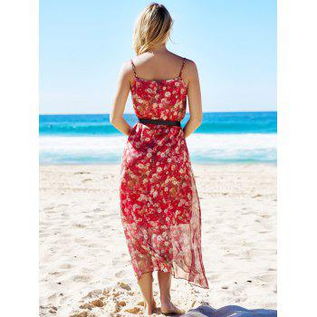 Bohemian Sleeveless Spaghetti Strap Floral Print Women's Dress - RED RED