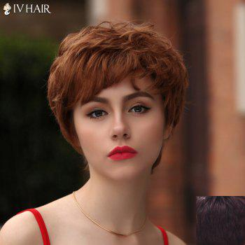 Fashion Short Side Bang Bouffant Curly Siv Hair Capless Human Hair Wig For Women
