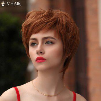 Vogue Short Multicolor Fluffy Natural Wave Siv Hair Human Hair Wig For Women - AUBURN BROWN 3