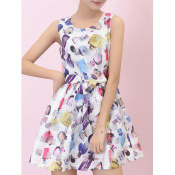 Print Bowknot Mini Flare Dress