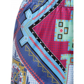 Stylish Women's Tribal Print High Waist Shorts - COLORMIX S