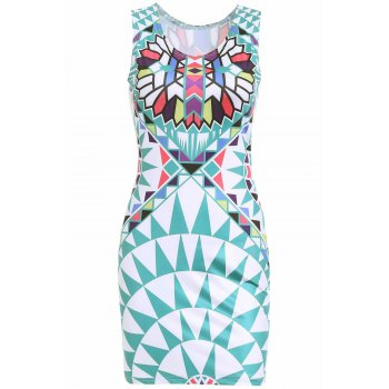 Stylish Women's Scoop Neck Sleeveless Geometric Print Dress