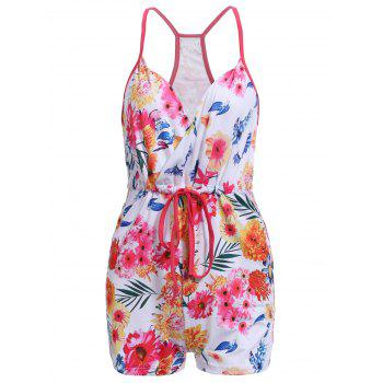 Trendy Lace-Up Spaghetti Strap Floral Print Romper For Women