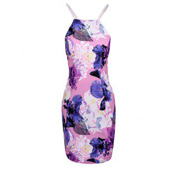 Chic Spaghetti Strap Hollow Out Floral Print Skinny Women's Dress