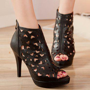 Stylish Zipper and Hollow Out Design Women's Peep Toe Shoes - BLACK 36