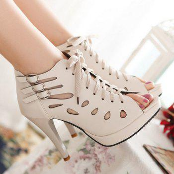 Trendy Hollow Out and Buckles Design Women's Peep Toe Shoes - OFF WHITE OFF WHITE