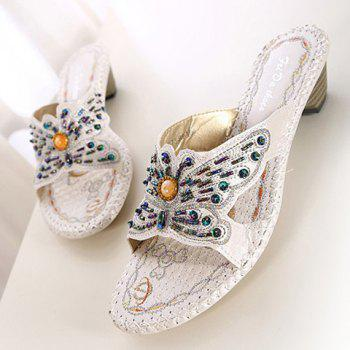 Bohemian Beading and Bow Design Women's Slippers - 38 38