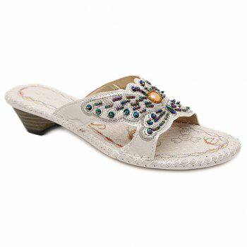 Bohemian Beading and Bow Design Women's Slippers - WHITE 38