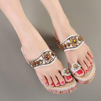 Beaded Toe Ring Bohemian Style Sandals - 35 35