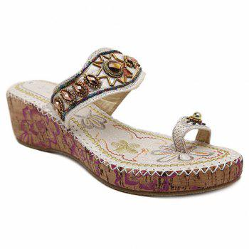 Beaded Toe Ring Bohemian Style Sandals - WHITE 35
