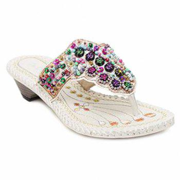 Rhinestone Beaded Bohemian Slippers