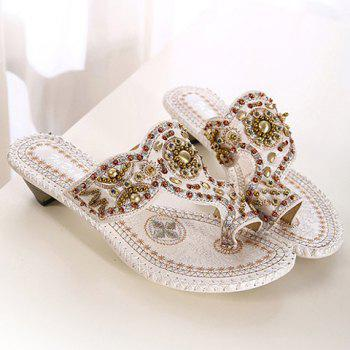 Vintage Beading and Chunky Heel Design Women's Slippers - 35 35