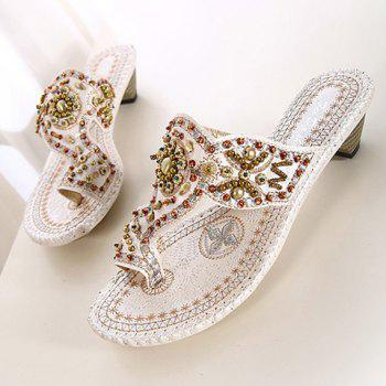 Vintage Beading and Chunky Heel Design Women's Slippers - WHITE WHITE