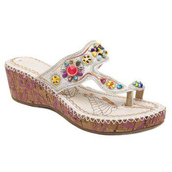 Casual Wedge Heel and Rhinestone Design Women's Slippers - WHITE 37