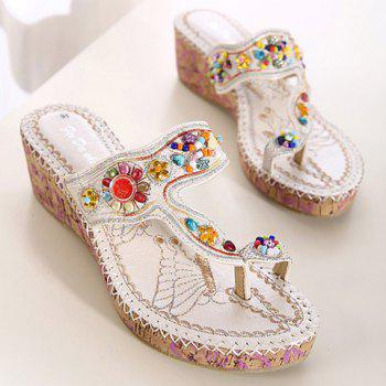 Casual Wedge Heel and Rhinestone Design Women's Slippers - 40 40