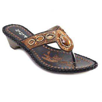 Bohemian Embroidery and Rhinestone Design Women's Slippers - BLACK 37