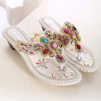 Bohemian Embroidery and Beading Design Women's Slippers - 36 36