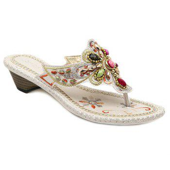 Bohemian Embroidery and Beading Design Women's Slippers - WHITE 36