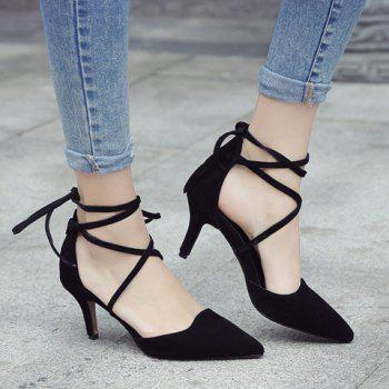 Stylish Solid Color and Suede Design Women's Pumps - BLACK 37