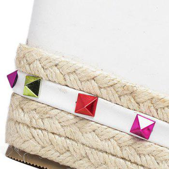 Trendy Colorful Rivet and Wedge Heel Design Women's Sandals - WHITE 38