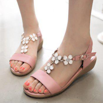 Leisure Flowers and Rhinestones Design Women's Sandals - PINK 37