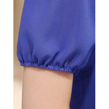 Casual Short Sleeve Stand Collar Faux Twinset Women's Chiffon Blouse - BLUE BLUE