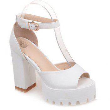 Sweet Chunky Heel and Ankle Strap Design Women's Sandals