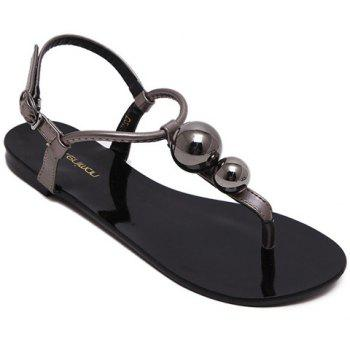 Leisure Bead and T-Strap Design Women's Sandals