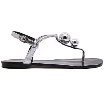 Leisure Bead and T-Strap Design Women's Sandals - SILVER 38