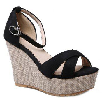 Cross Strap Suede Wedge Heel Sandals