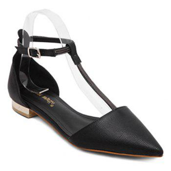 Stylish T-Strap and Pointed Toe Design Women's Flat Shoes - BLACK 38