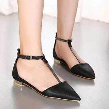 Stylish T-Strap and Pointed Toe Design Women's Flat Shoes - BLACK BLACK