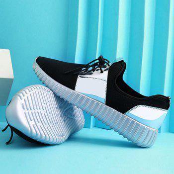 Trendy Colour Block and Lace-Up Design Men's Athletic Shoes - SILVER SILVER