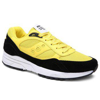 Trendy Breathable and Color Block Design Men's Athletic Shoes - YELLOW 39
