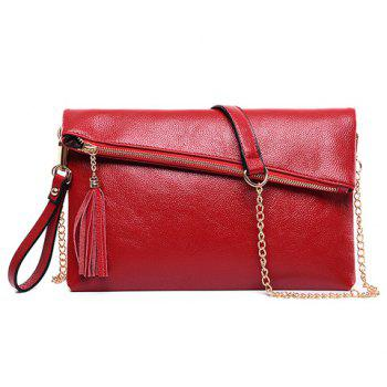 Sweet Tassel and Solid Color Design Women's Crossbody Bag